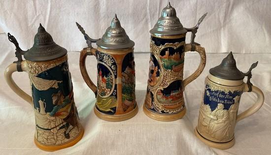 4 German Decorated Ceramic Steins