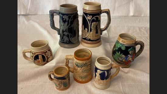 Lot Of 7 Ceramic Steins