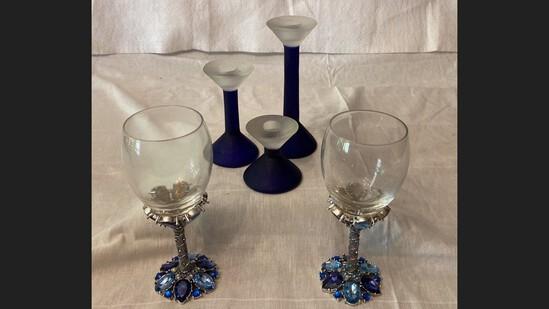 2 Metal Base Jeweled Goblets & 3 Cobalt Blue Candleholders