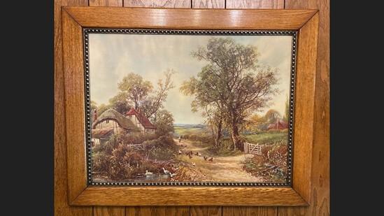 Antique Oak Framed Color English Cottage Scene Print