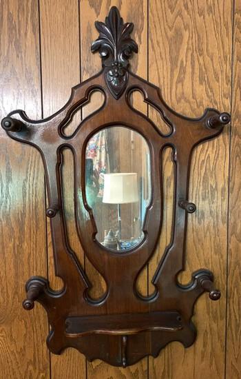 Walnut Victorian Coat Rack Wall Mirror Shelf