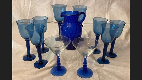 11 Pcs Cobalt Blue Glassware