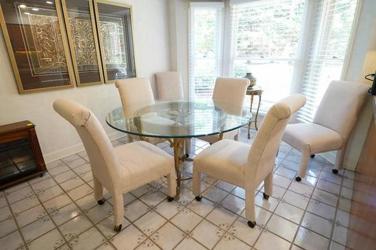 Iron Base, Glass Top Dining Table With 6 Rolling Upholstered Chairs
