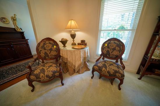 Oval Back, Upholstered Parlor Chairs