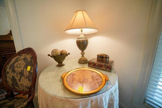 Round Side Table With Cloth, Lamp, Round Server Plate, 2 D?cor Boxes, and Vase w/decor