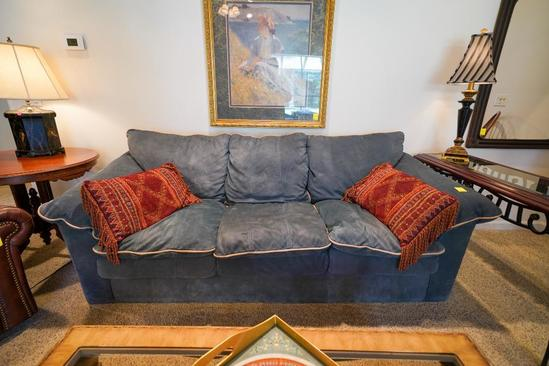 Suede Couch With Throw Pillows