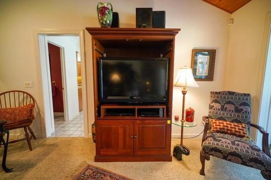 Entertainment Center With Sony Stereo System, And Blu Ray Player,CDs and DVDs