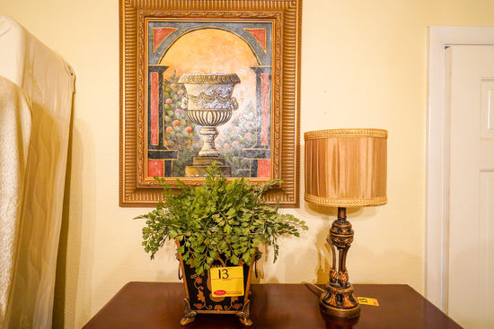 Lamp, Oil on Canvas Painting, Artificial Planter