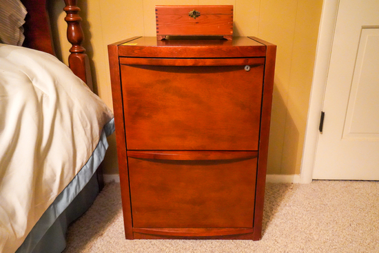 2 Drawer Solid Wood Filing Cabinet