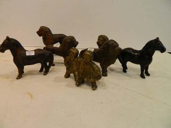 Seven Figural Cast Iron Still Banks