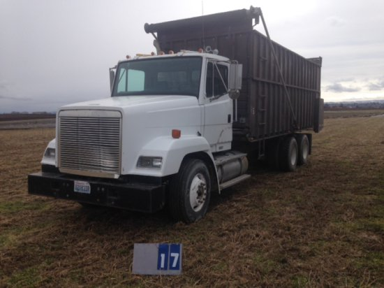 1993 FREIGHTLINER, CUMMINS L10, WITH LIVE UNLOADING CHAIN BOX, WITH TARP, 176,742 MILES