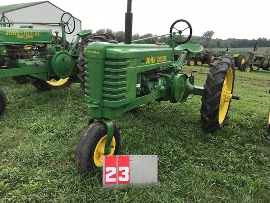 JOHN DEERE H, 5846, 1939, SINGLE FRONT, NEW RUBBER, RESTORED, RUNS