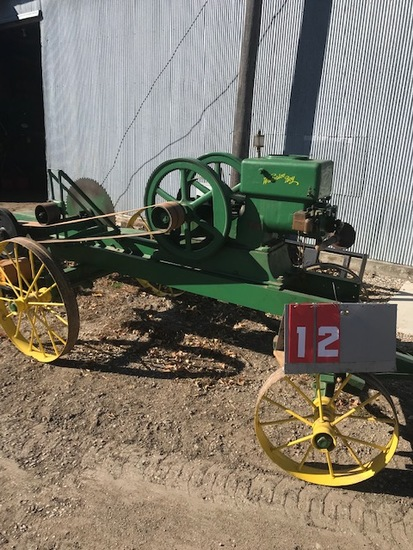 WATERLOO BOY GAS ENGINE, 5 HP, ON CART WITH BUZZ SAW