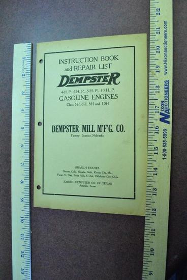 Dempster Instruction Book and Repair List