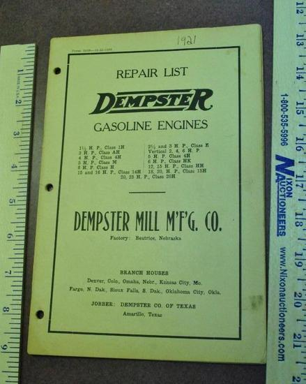 1921 Dempster Gasoline Engine