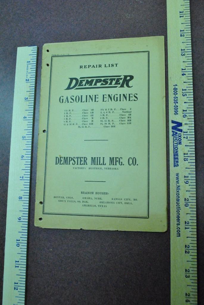 1926 Dempster Gasoline Engines