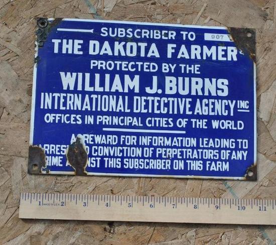 Dakota Farmer Blue Porcelain Sign