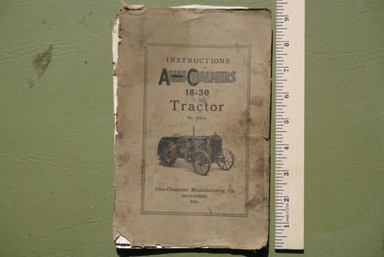 Instruction Book for Allis Chalmers 18-30