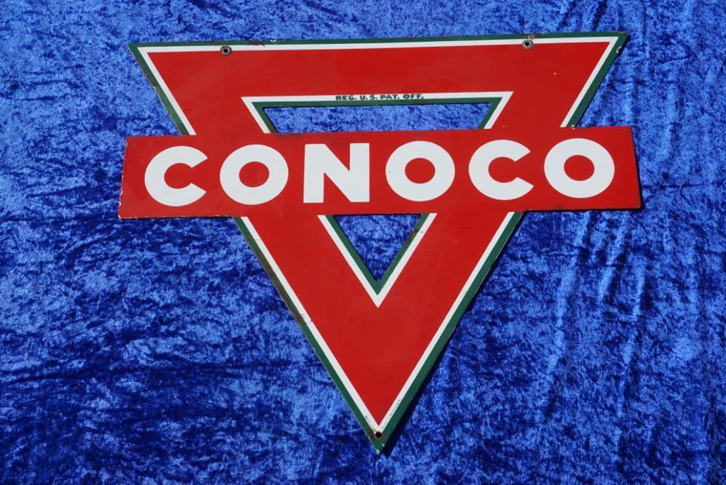 Double Sided Porcelain Conoco Sign