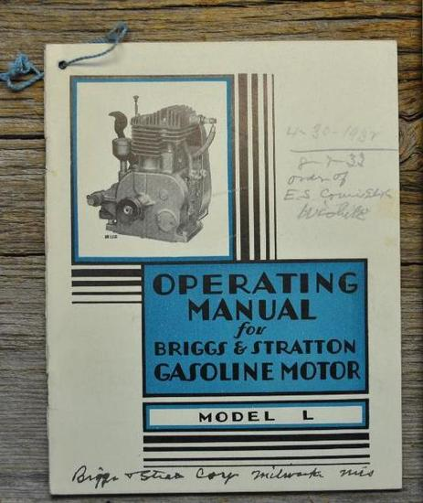 Operating Manual for Briggs & Stratton Gasoline Motor