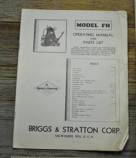 Operating Manual & Parts List for Briggs & Stratton Model FH