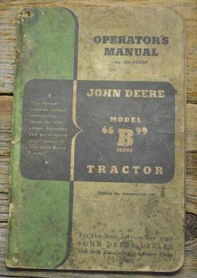 """John Deere """"B"""" Manual"""