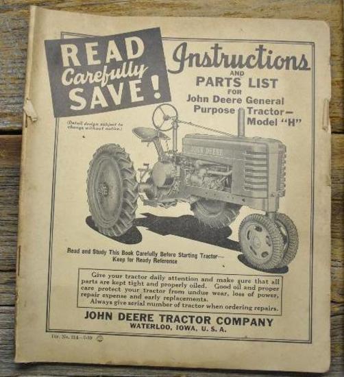 John Deere H Parts List