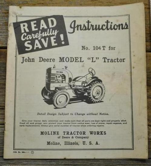"John Deere ""L"" Instructions"