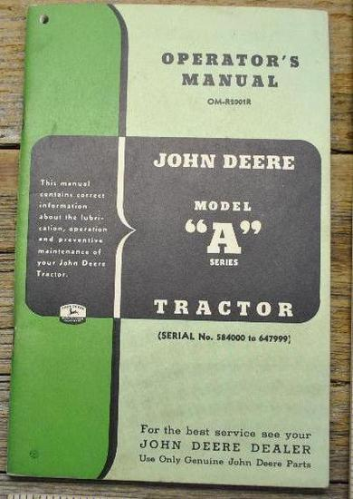 John Deere Model A Tractor Manual