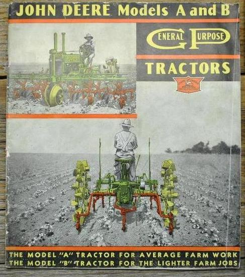 "Fold out John Deere ""A"" and ""B"" Advertisement"