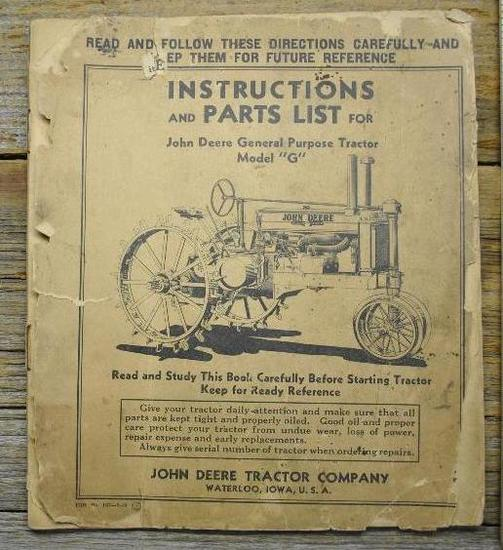 "John Deere ""G"" Instructions"