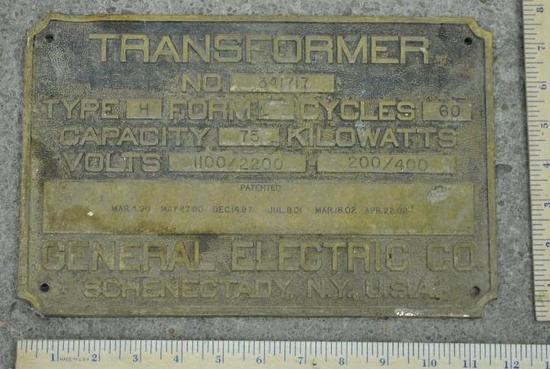 General Electric Transformer Plate