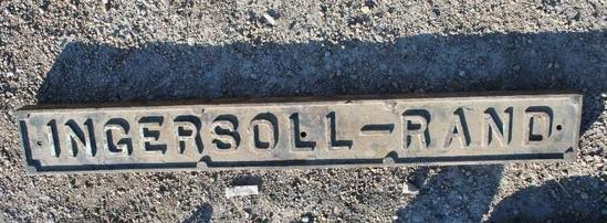 Ingersoll Rand Air Compressor Cast Iron Sign