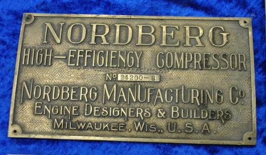 Nordberg Mfg. Co. Builders Plates