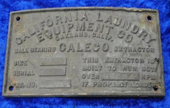 California Laundry Equipment Co. Builders Plate