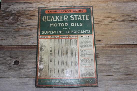 Quaker State Motor Oil 1920 Vintage Original Tin Sign