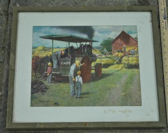 Framed J.I. Case Threshing Scene