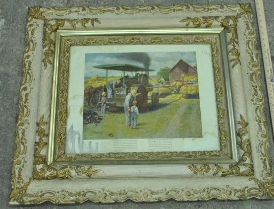 Framed J.I Case Threshing Scene