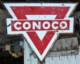 Conoco Porcelain Petroleum Large Double Sided Sign