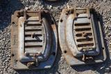 Pair cast iron stove boiler doors.