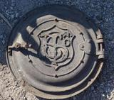 T. S. Co. Cast Iron Boiler Round Stove Door.