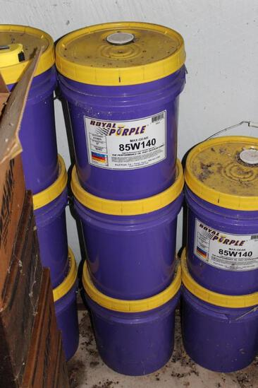 Three five gallon bucket of Royal Purple Max-Gear 85W140 high performance gear oil