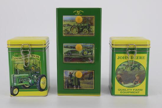 Three John Deere Tins