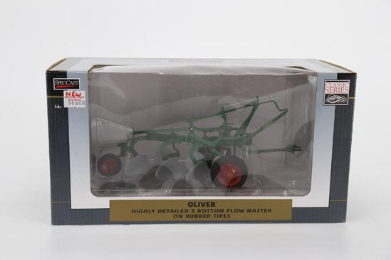 1/16 Spec Cast Highly Detailed Oliver Three Bottom Plow Master on Rubber Tires