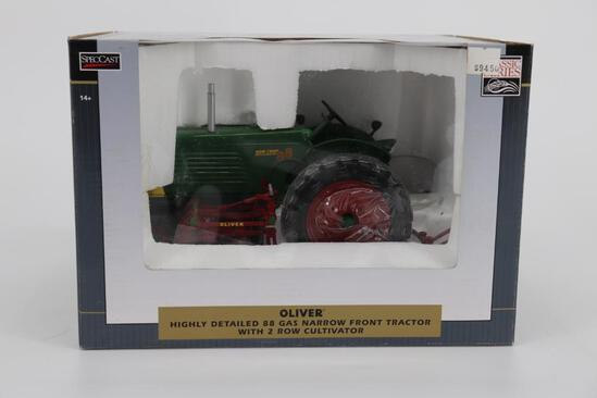 1/16 Spec Cast Highly Detailed Oliver 88 Narrow Front Gas Tractor with Two Row Cultivator