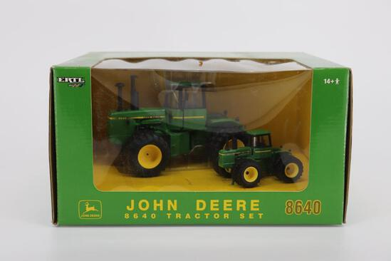 Set of 1/32 & 1/64 Ertl John Deere 8640 Tractors From The Plow City Farm Toy Show