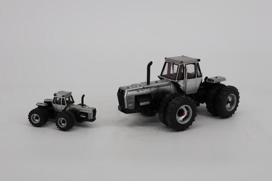Two 4-20 Field Boss White Tractors 4WD Evolution Series I 1/32 & 1/64 From The Nation Farm Toy Show