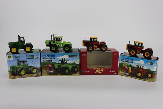 4 National Farm Toy Show Toy Farmer Tractors JD 8650, Steiger Panther KM-325, Versatile 950 & 935