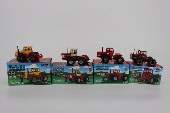Lot of 4 National Farm Toy Show Toy Farmer - Case 2470, IH 4366, Allis-Chalmers 7580 & MF 1500