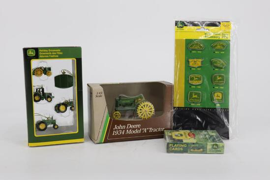 Misc John Deere - Holiday Ornaments, 1/43 Model A, Playing Cards & Accessory Pins